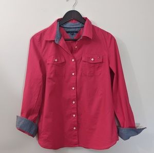 Tommy Hilfiger M button down frushia top